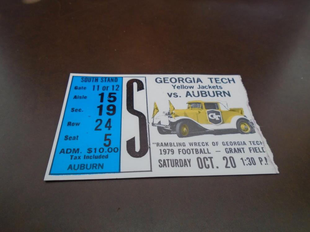 1979 AUBURN AT GEORGIA TECH FOOTBALL TICKET STUB EX-MINT ...